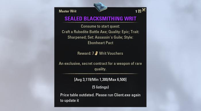 eso crafting guide blacksmithing master writs leveling power leveling sealed writ