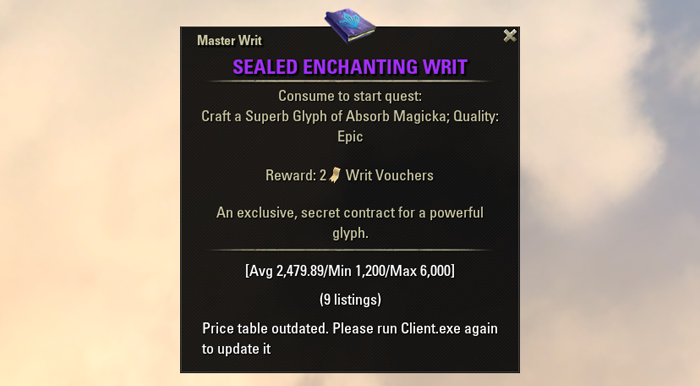 eso crafting guide enchanting master writs leveling power leveling sealed writ