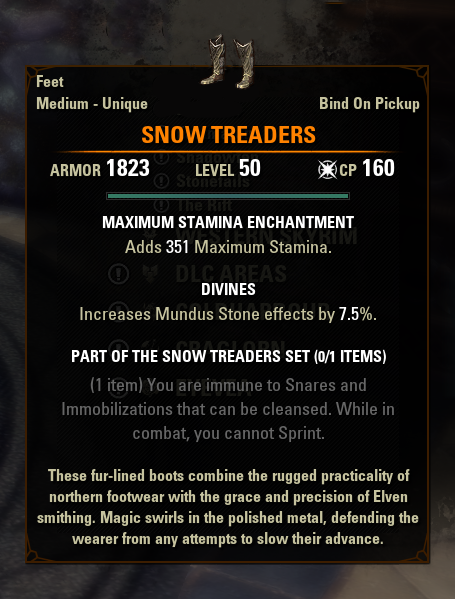 eso mythic gear antiquities snow treaders greymoor
