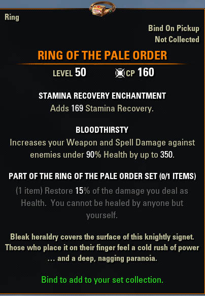 ESO Ring of The Pale Order Mythic Item Leads