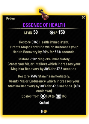 essence of health eso tank consumable tank potion essence of health potion ingredients