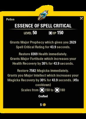 essence of spell critical magicka dps eso consumables potions essence of spell critical recipe ingredients