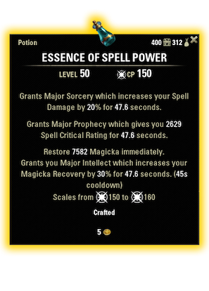 eso essence of spell power magicka dps potion ingredients consumables essence of spell power potion ingredients