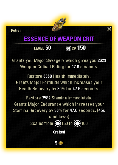 essence of weapon critical stamina dps consumable eso essence of weaopn critical potion recipe ingredients
