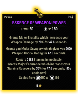 essence of weapon power stamina dps potion recipe essence of weapon power potion ingredients